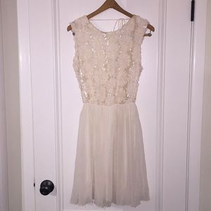 White/Cream Flower and Sequence Dress